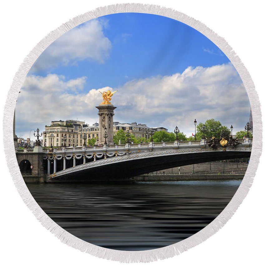 Eifflel Tower Round Beach Towel featuring the photograph Pont Alexandre IIi by Louise Heusinkveld
