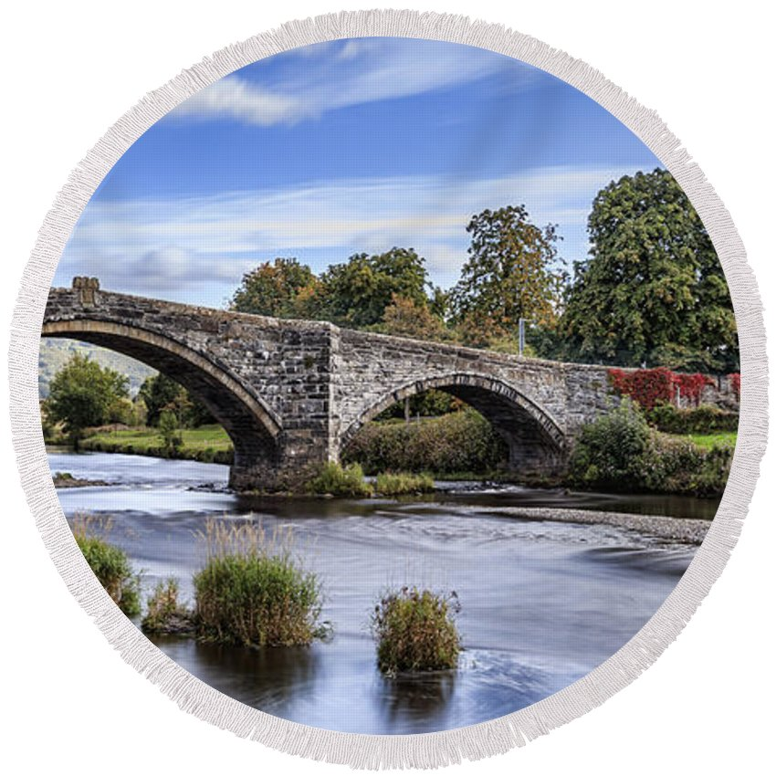 Llanrwst Round Beach Towel featuring the photograph Pont Fawr by Chris Smith
