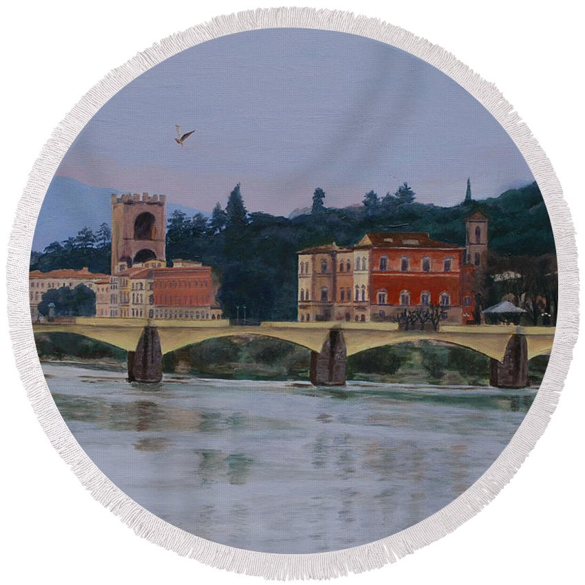 Acrylic Round Beach Towel featuring the painting Ponte Vecchio Landscape by Lynne Reichhart