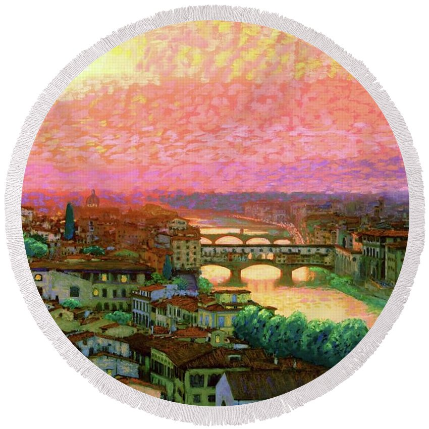 Italy Round Beach Towel featuring the painting Ponte Vecchio Sunset Florence by Jane Small