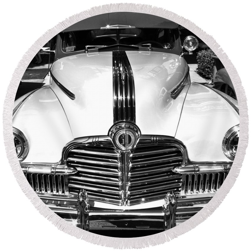 Photograph Round Beach Towel featuring the photograph Pontiac by Gwyn Newcombe