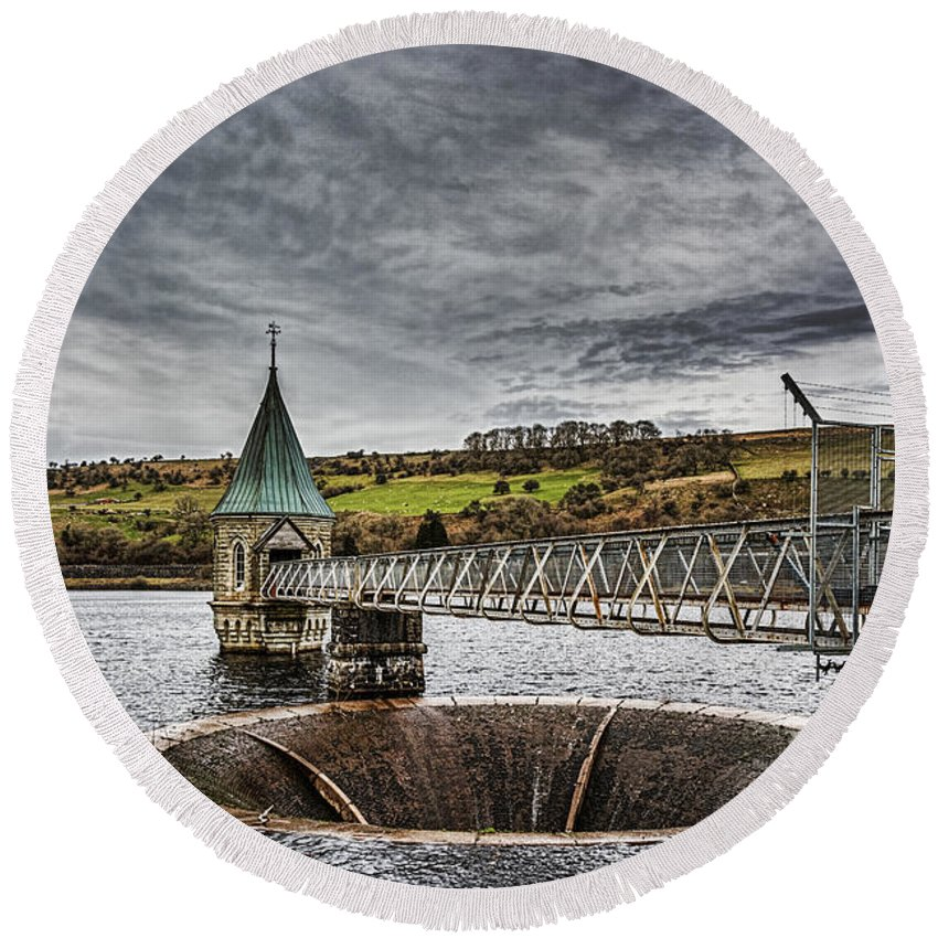 Clouds Round Beach Towel featuring the photograph Pontsticill Reservoir Valve Tower by Steve Purnell