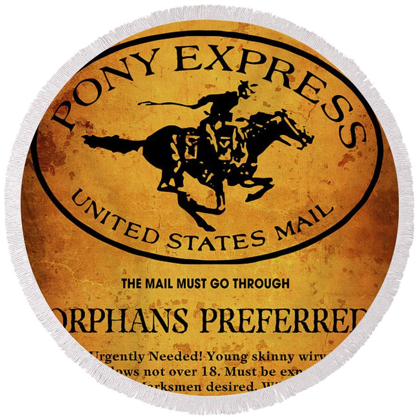Pony Express Round Beach Towel featuring the digital art Pony Express Wanted Poster by Daniel Hagerman