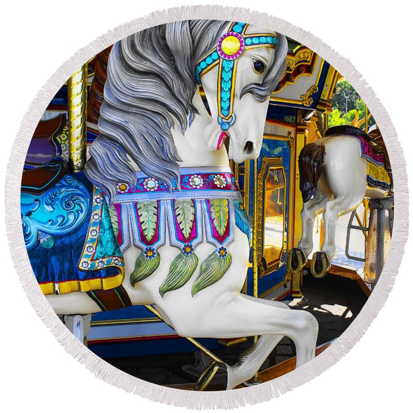 Pony Round Beach Towel featuring the photograph Pony Carousel - Pony Series 5 by Carlos Diaz