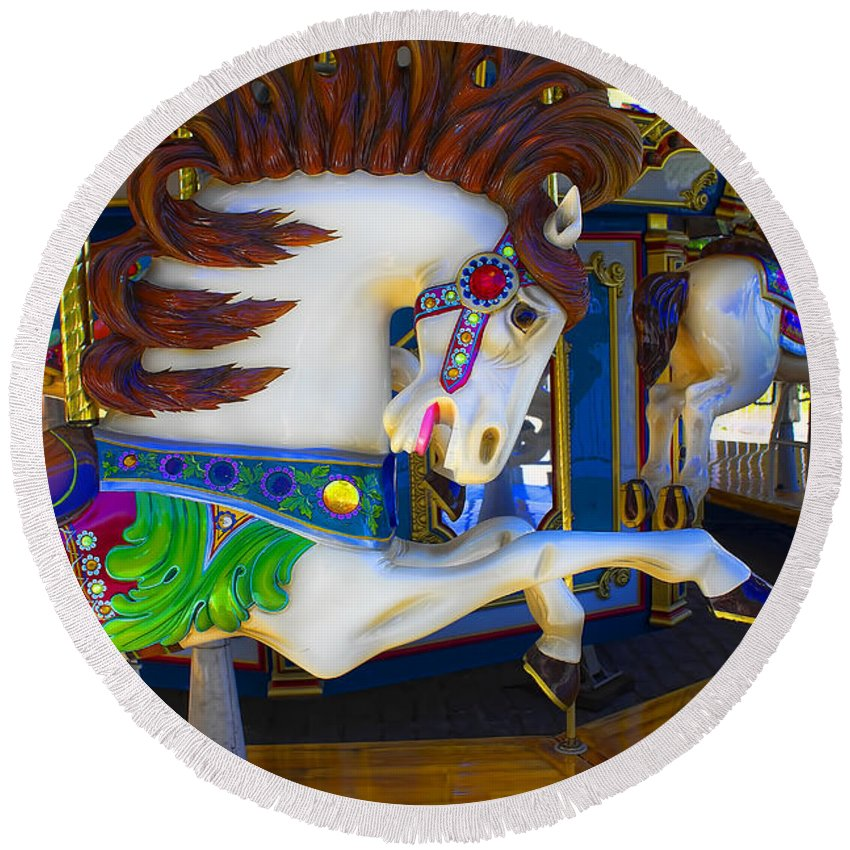Horse Round Beach Towel featuring the photograph Pony Carousel - Pony Series 6 by Carlos Diaz