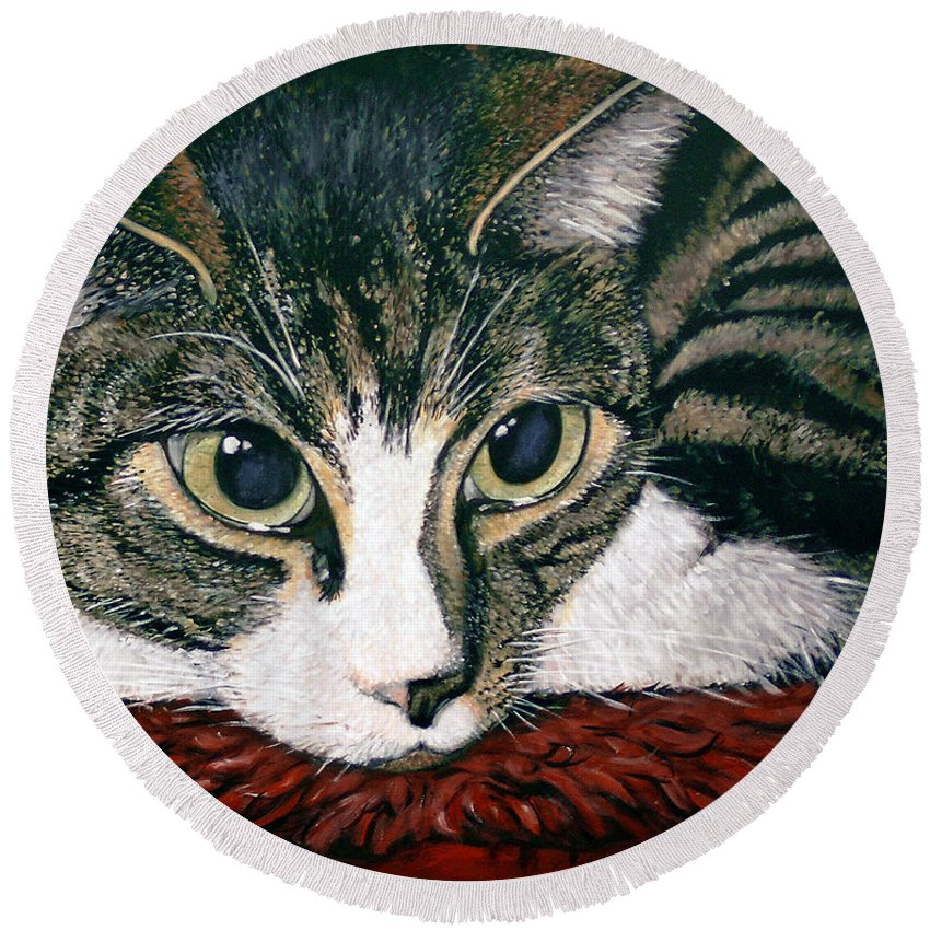 Cat Round Beach Towel featuring the painting Pooky by Arie Van der Wijst