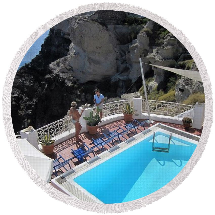 Santorini Round Beach Towel featuring the photograph Pool View by Karen Norton