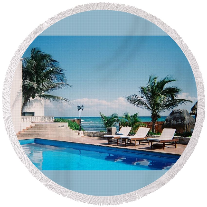 Resort Round Beach Towel featuring the photograph Poolside by Anita Burgermeister
