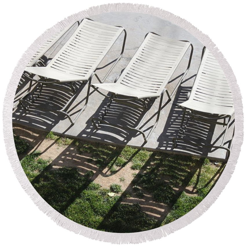 Pool Round Beach Towel featuring the photograph Poolside by Lauri Novak
