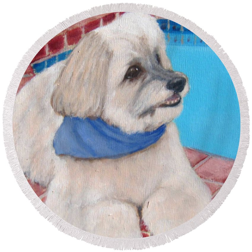 Dogs Round Beach Towel featuring the painting Poolside Puppy by Laurie Morgan