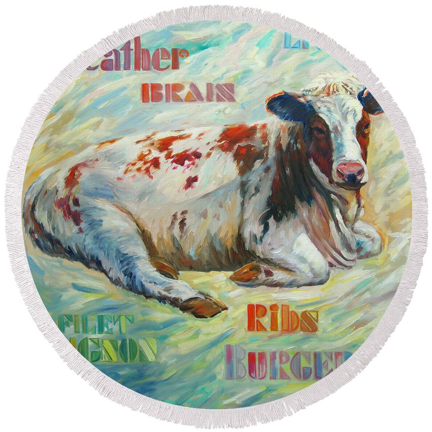Livestock Round Beach Towel featuring the painting Poor Miss Bessie by Rick Nederlof