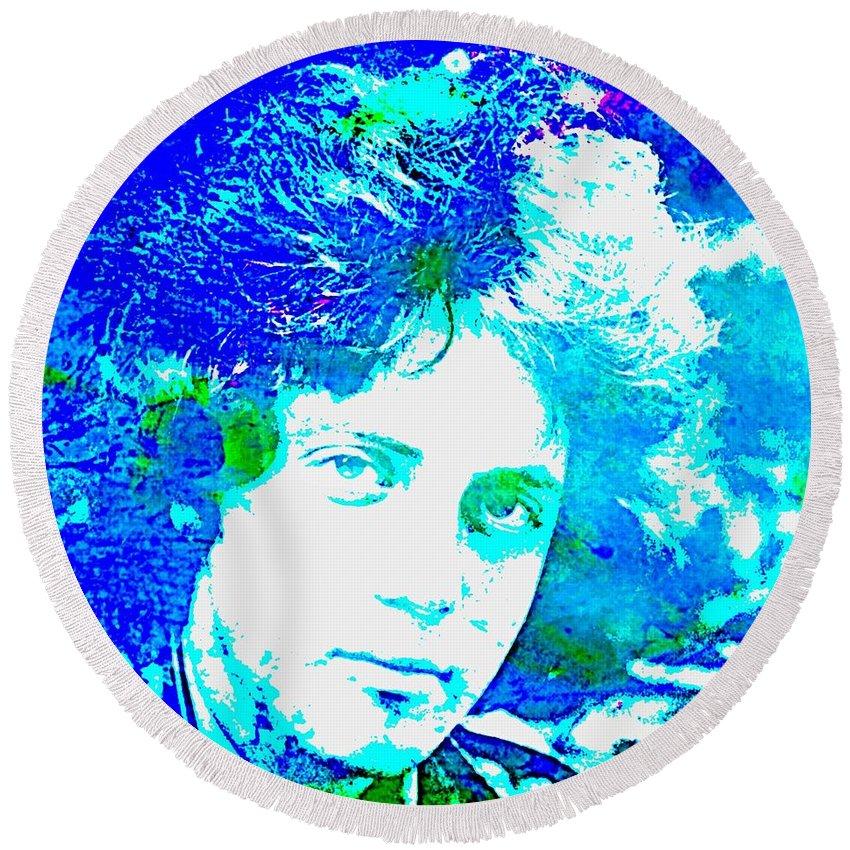 Blue And Green Round Beach Towel featuring the digital art Pop Art Billy Joel by John Malone