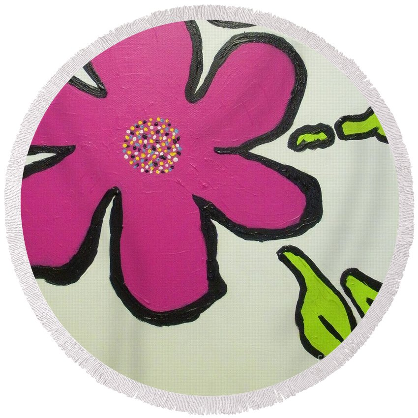 Flower Round Beach Towel featuring the painting Pop Art Pansy by Maria Bonnier-Perez