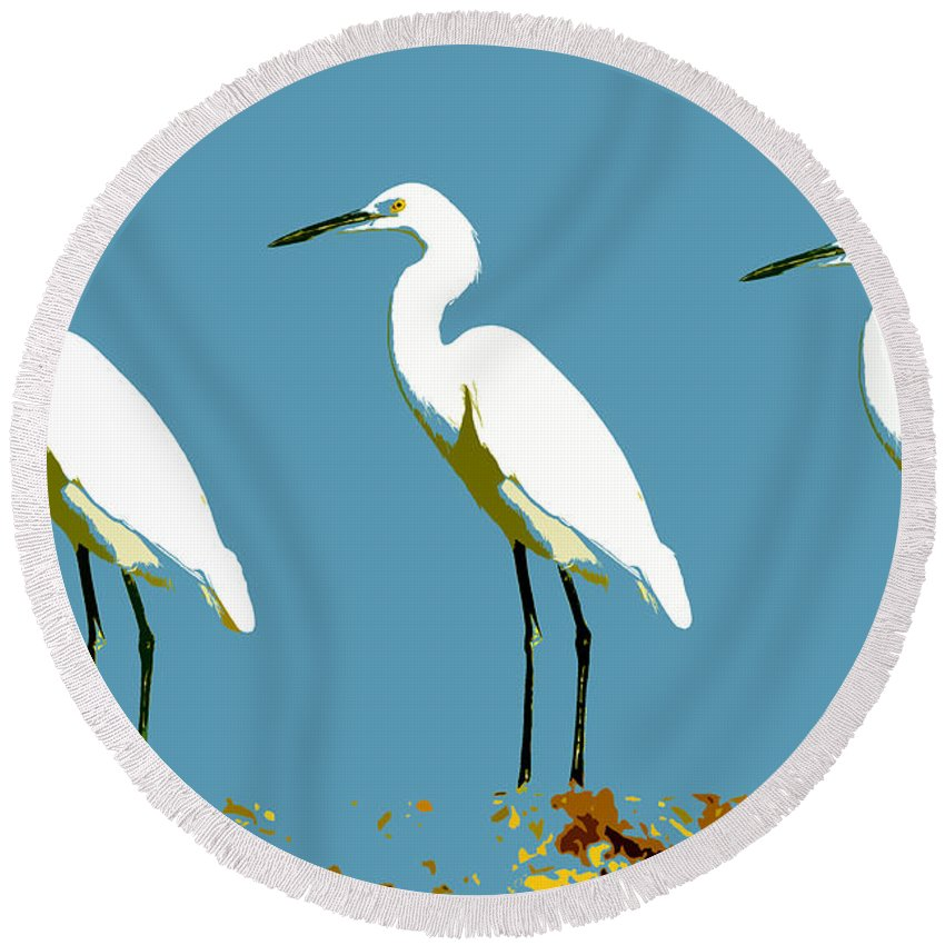 Egrets Round Beach Towel featuring the painting Pop Egrets by David Lee Thompson