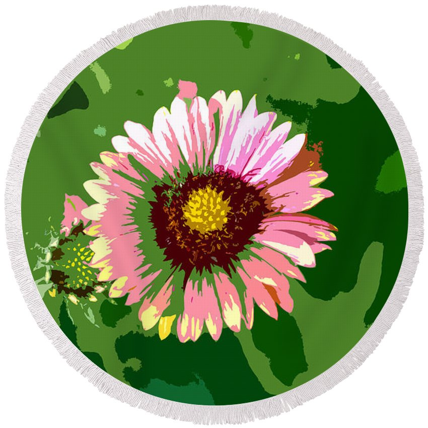 Flower Round Beach Towel featuring the photograph Pop Flower Work Number 23 by David Lee Thompson