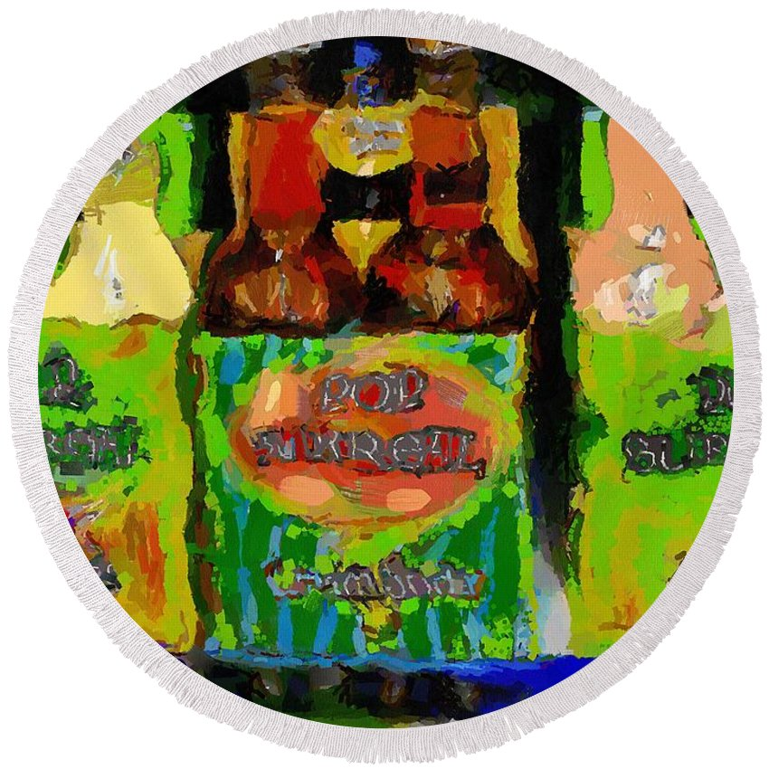 Bottles Round Beach Towel featuring the painting Pop Goes The Surrealism by RC DeWinter