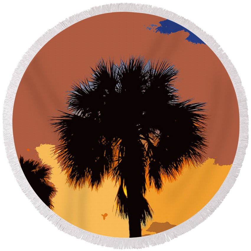 Palm Trees Round Beach Towel featuring the photograph Pop Palms by David Lee Thompson