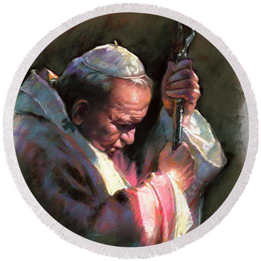Portrait Round Beach Towel featuring the pastel Pope John Paul II by Ylli Haruni
