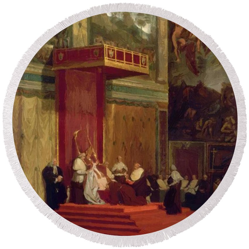 Pope Round Beach Towel featuring the painting Pope Pius Vii Luigi Barnaba Chiaramonti Attending Chapel 1820 by Ingres Jean Auguste Dominique