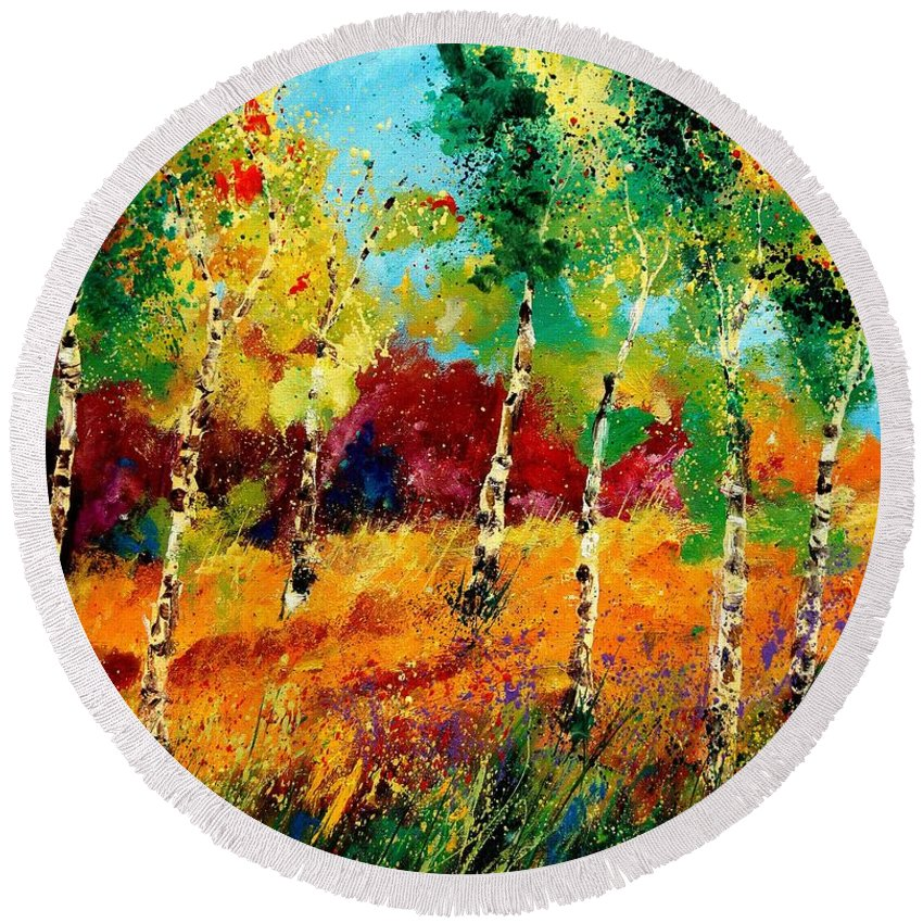 Poppy Round Beach Towel featuring the painting Poplars '459070 by Pol Ledent