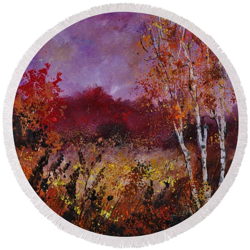 Landscape Round Beach Towel featuring the painting Poplars in autumn by Pol Ledent