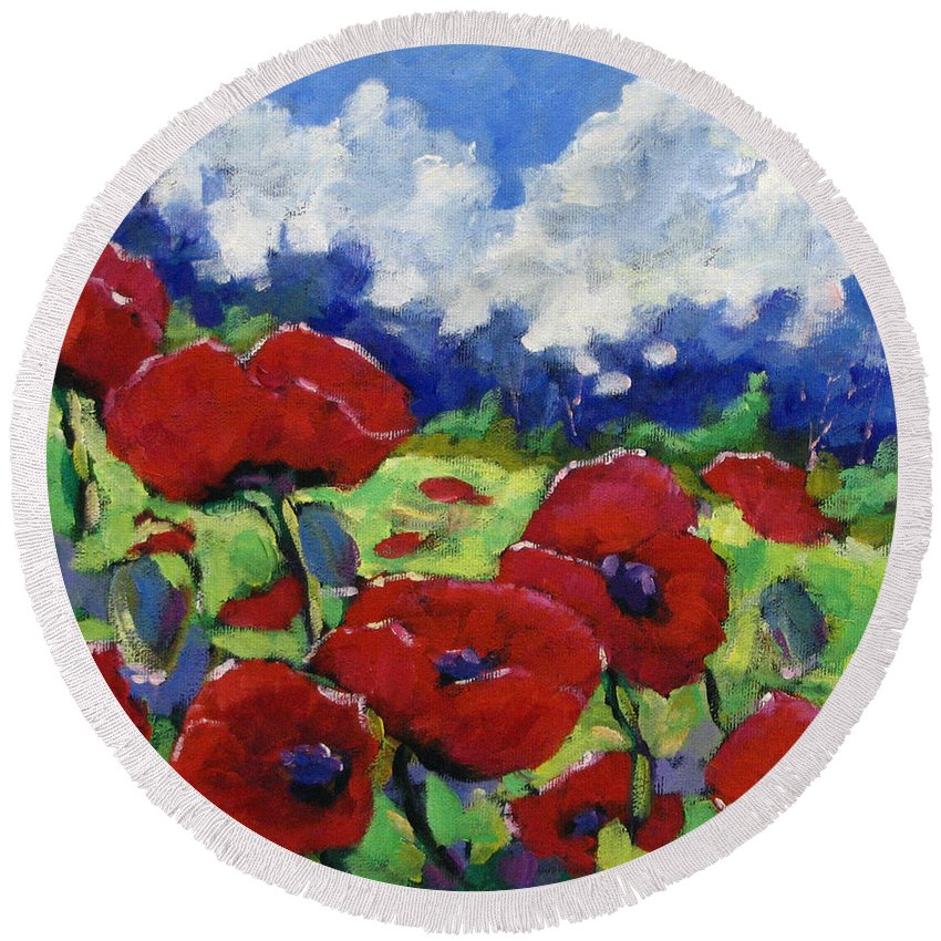 Art Round Beach Towel featuring the painting Poppies 003 by Richard T Pranke