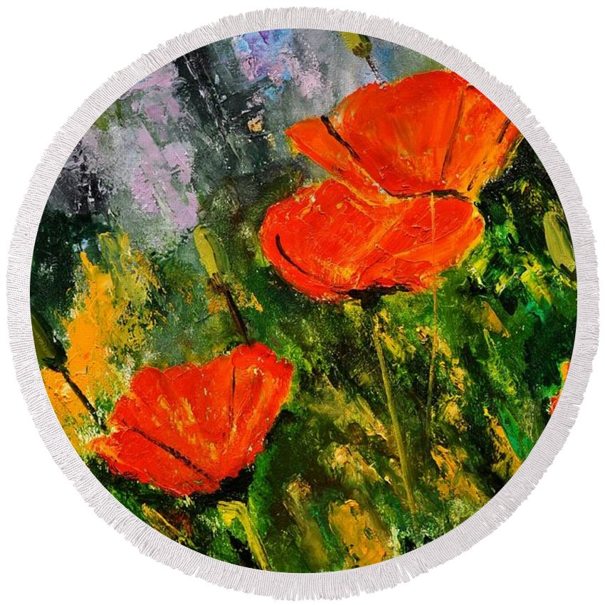 Flowers Round Beach Towel featuring the painting Poppies 107 by Pol Ledent