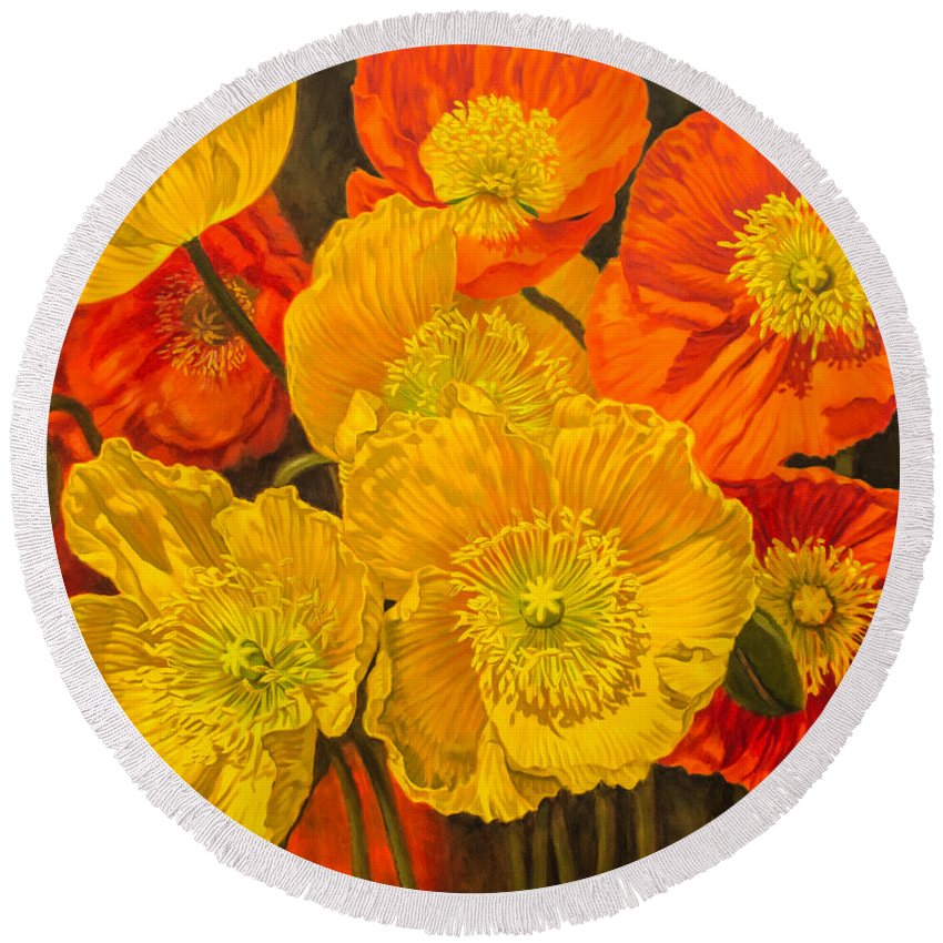 Poppy Round Beach Towel featuring the painting Iceland Poppies 2 by Fiona Craig