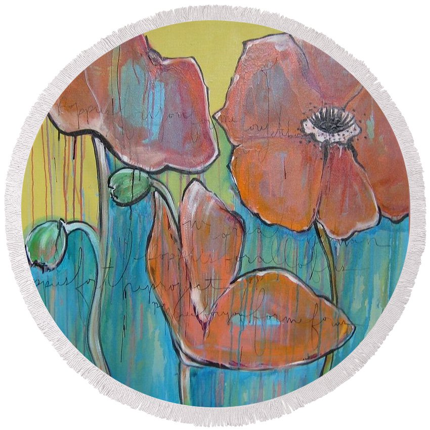 Pop Art Round Beach Towel featuring the painting Poppies 3 by Laurie Maves ART