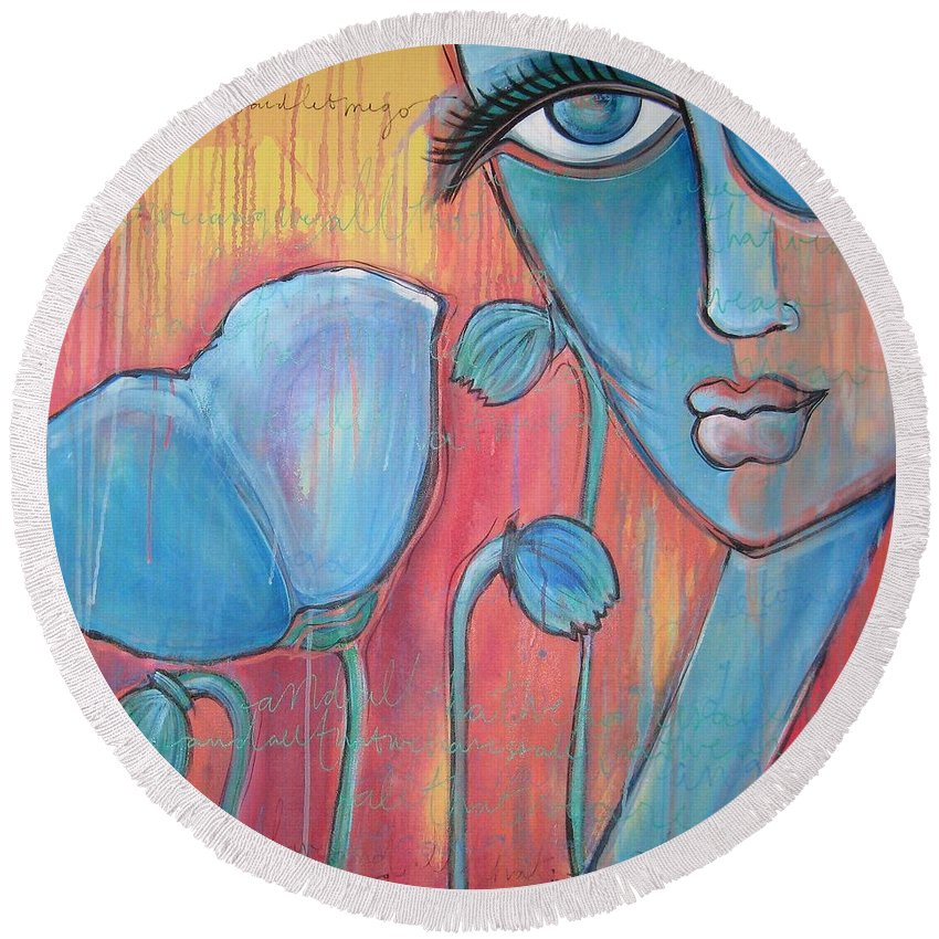 Pop Art Round Beach Towel featuring the painting Poppies 7 Luna Let Me Go by Laurie Maves ART