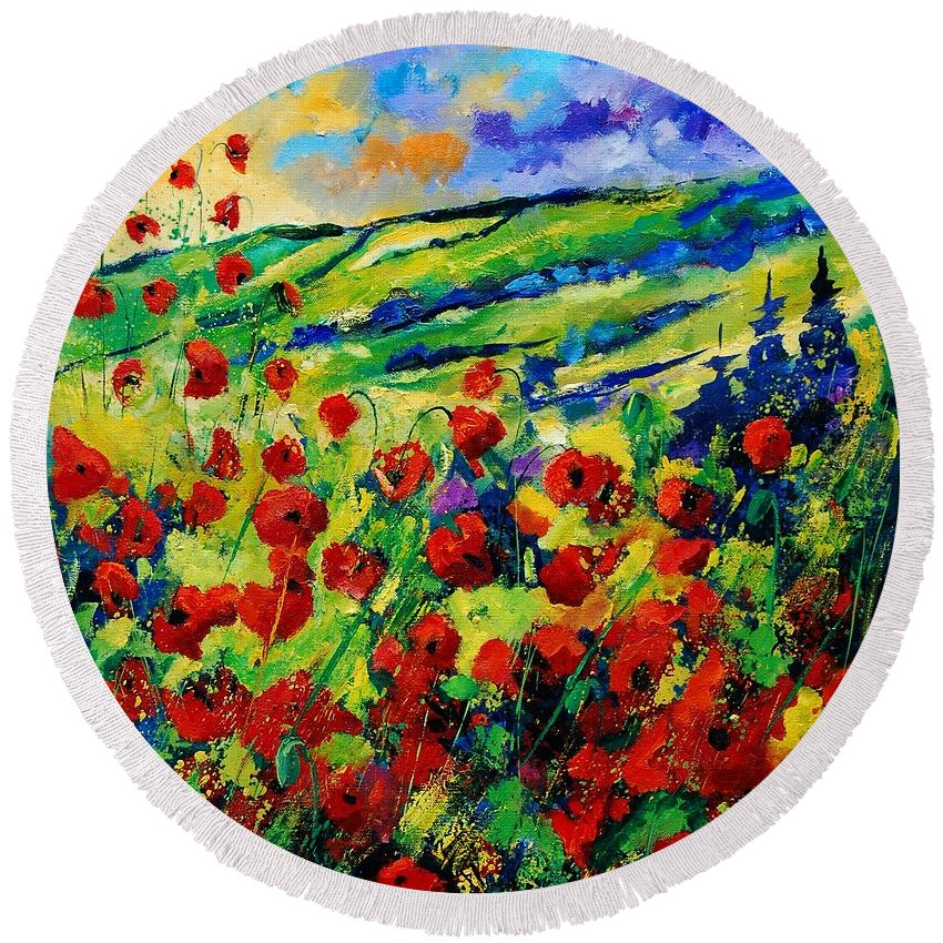 Flowers Round Beach Towel featuring the painting Poppies 78 by Pol Ledent