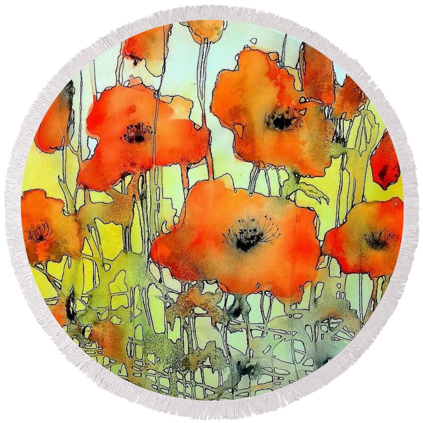 Red Round Beach Towel featuring the painting Poppies Abstraction by Suzann Sines