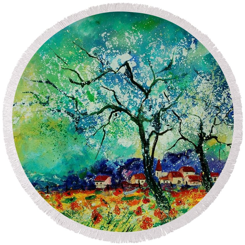 Landscape Round Beach Towel featuring the painting Poppies And Appletrees In Blossom by Pol Ledent