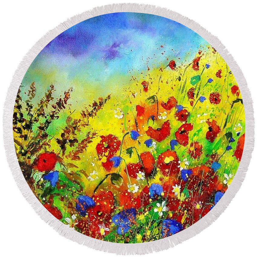 Poppies Round Beach Towel featuring the print Poppies And Blue Bells by Pol Ledent