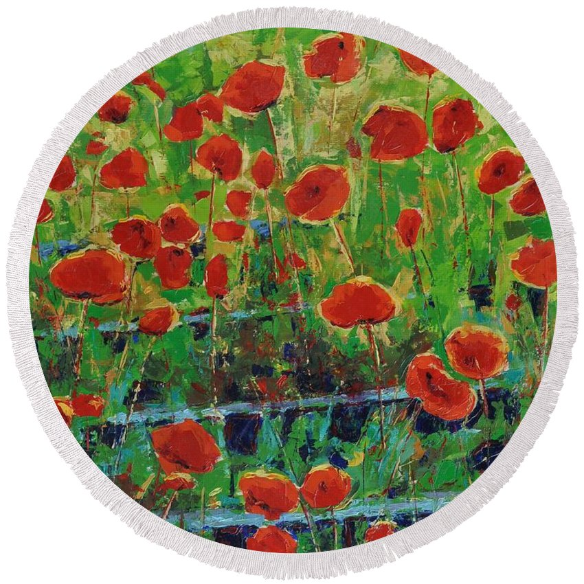 Poppies Round Beach Towel featuring the painting Poppies And Traverses 1 by Iliyan Bozhanov