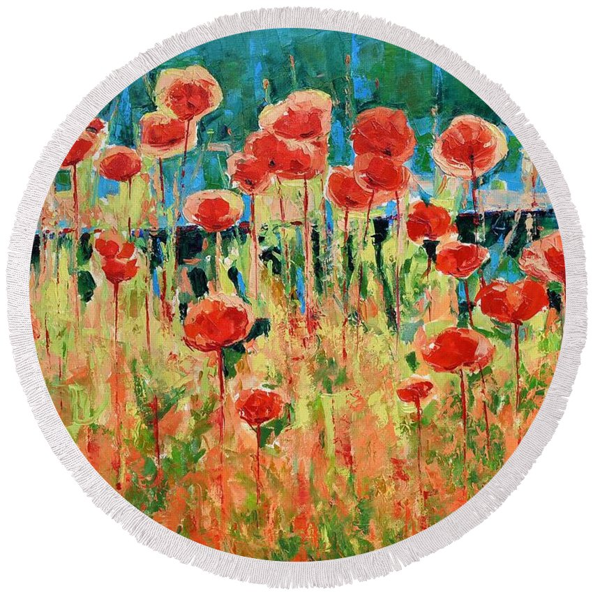 Poppies Round Beach Towel featuring the painting Poppies And Traverses 2 by Iliyan Bozhanov