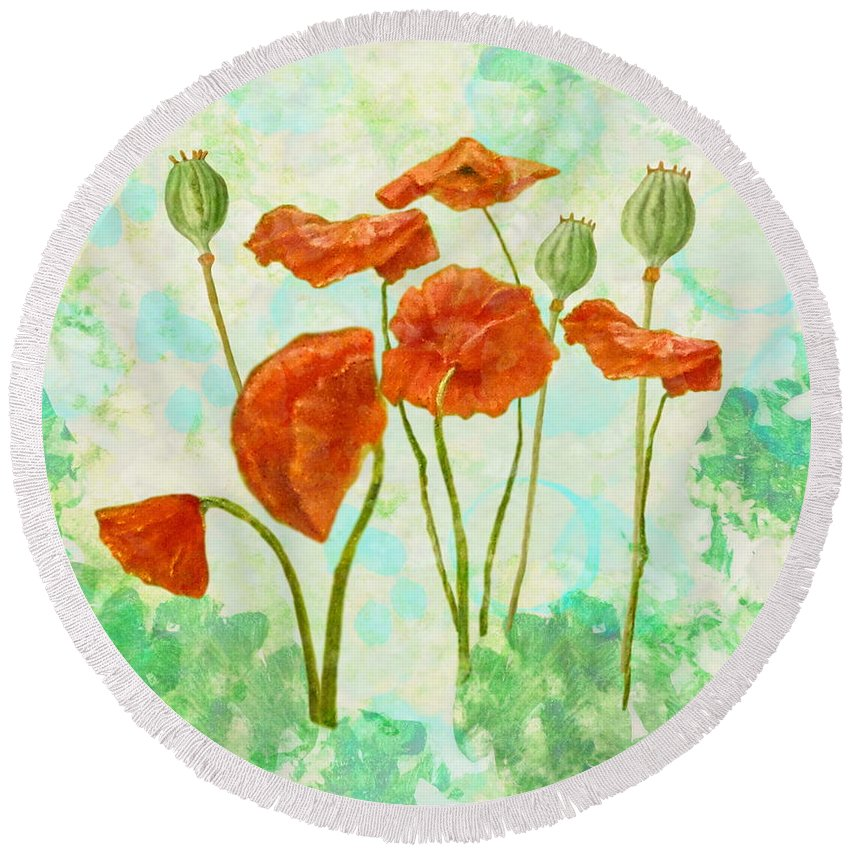 Poppies Round Beach Towel featuring the mixed media Poppies by Angeles M Pomata