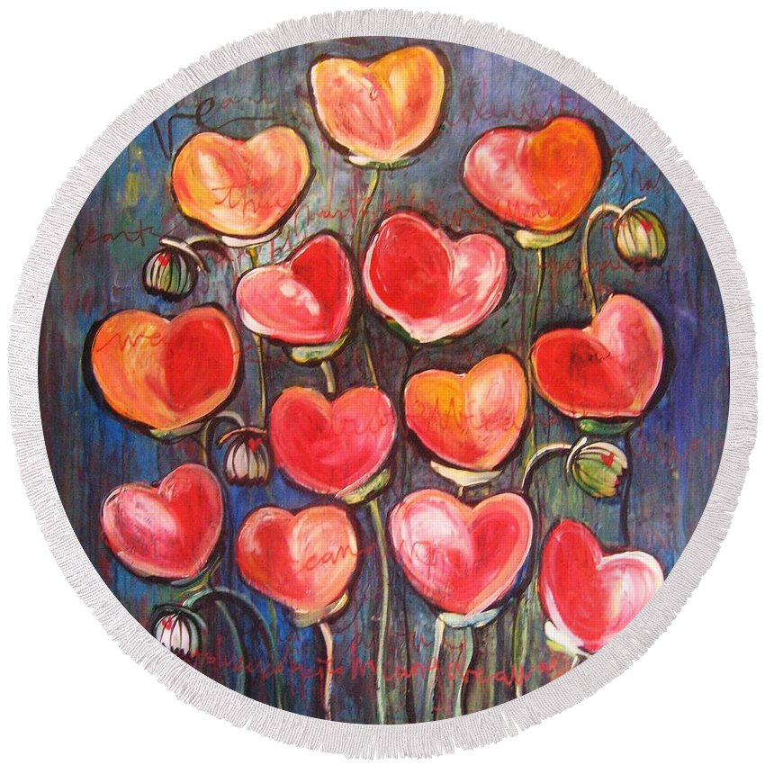 Poppies Round Beach Towel featuring the painting Poppies Are Hearts Of Love We Can Give Away by Laurie Maves ART