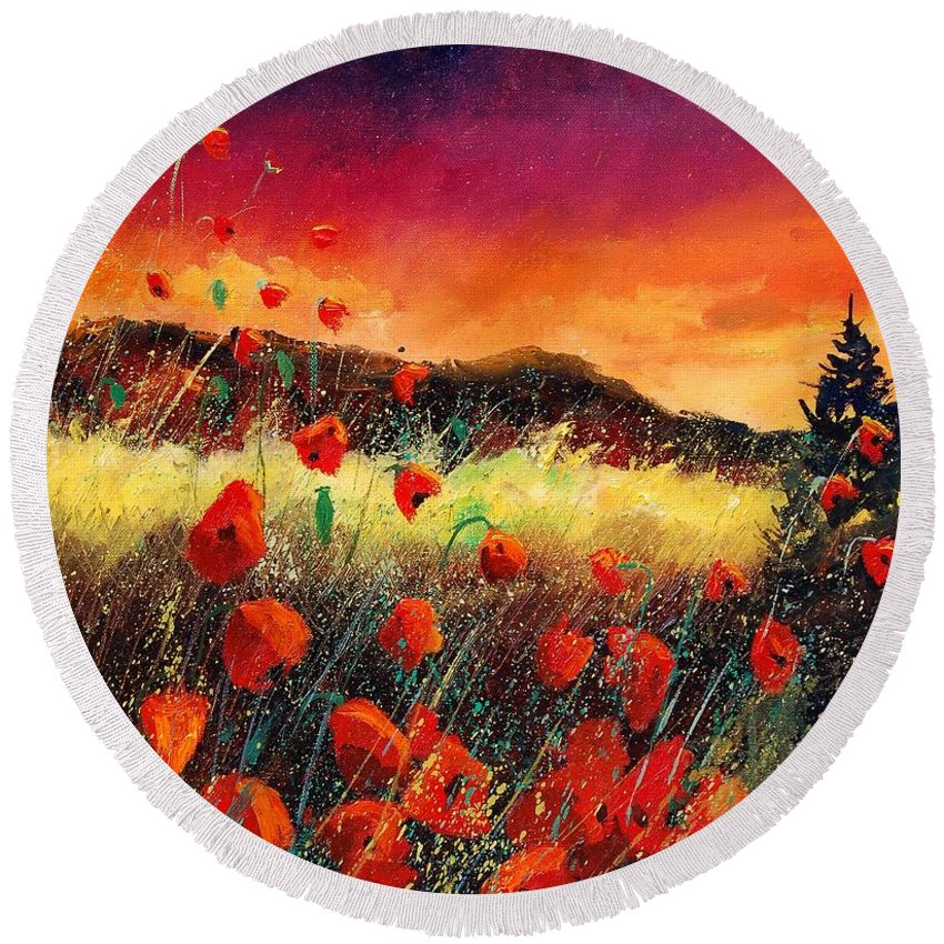 Poppies Round Beach Towel featuring the painting Poppies At Sunset 67 by Pol Ledent