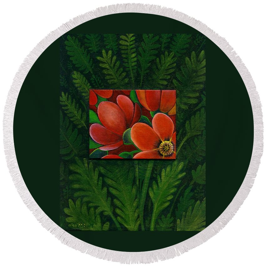 Poppy Round Beach Towel featuring the painting Poppies by Helena Tiainen