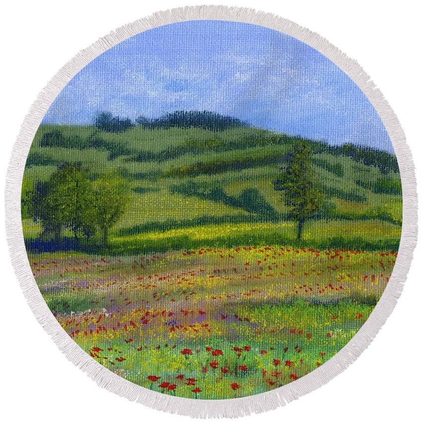Red Poppies Round Beach Towel featuring the pastel Red Poppies In Cribyn Fields by Edward McNaught-Davis