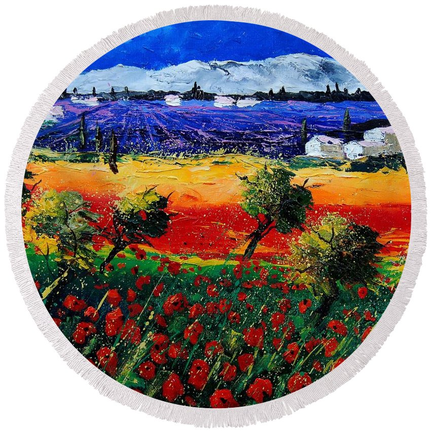 Poppy Round Beach Towel featuring the painting Poppies In Provence by Pol Ledent