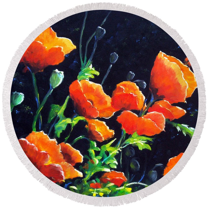Pavot Round Beach Towel featuring the painting Poppies In The Light by Richard T Pranke