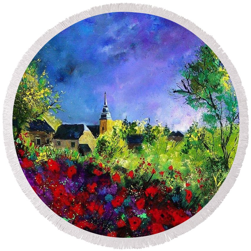 Flowers Round Beach Towel featuring the painting Poppies In Villers by Pol Ledent
