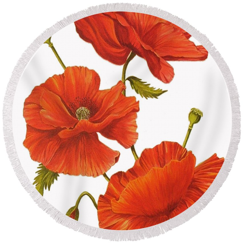 Poppies Round Beach Towel featuring the painting Poppies On White by Frances Evans