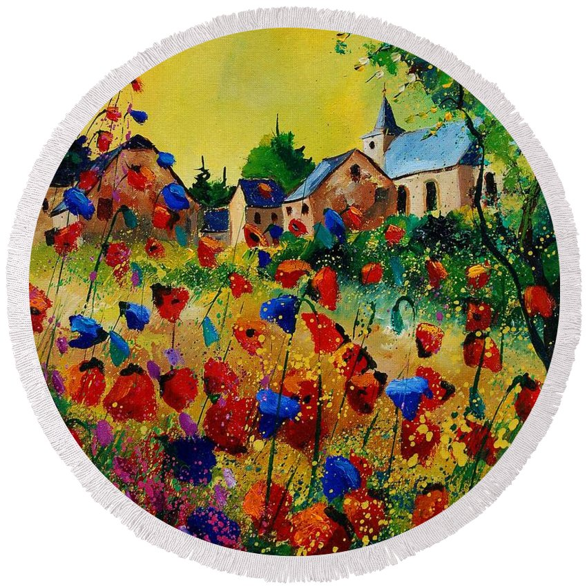 Flowers Round Beach Towel featuring the painting Poppies Sosoye by Pol Ledent