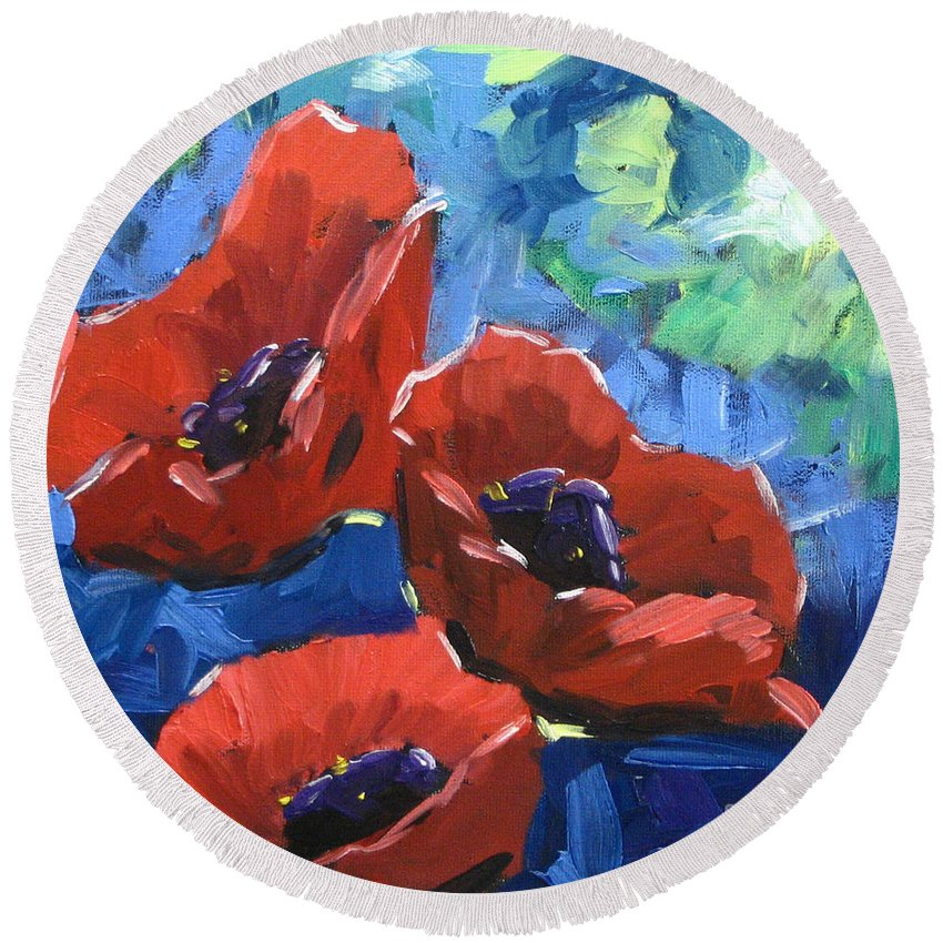 Art Round Beach Towel featuring the painting Poppies Splender by Richard T Pranke