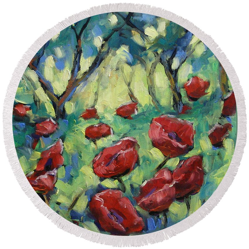 Art Round Beach Towel featuring the painting Poppies Through The Forest by Richard T Pranke