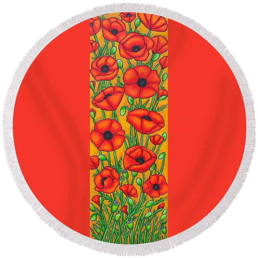Poppies Round Beach Towel featuring the painting Poppies Under The Tuscan Sun by Lisa Lorenz