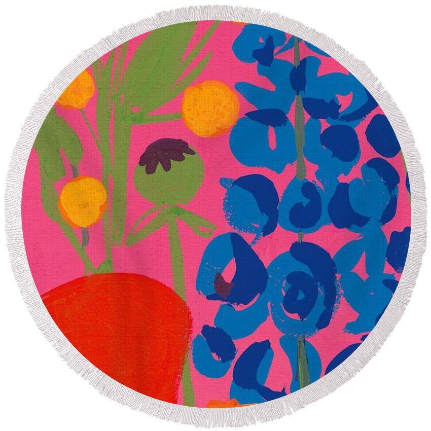 Flowers Round Beach Towel featuring the painting Poppy And Delphinium by Sarah Gillard
